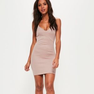 Missguided pink panelled strappy bodycon dress